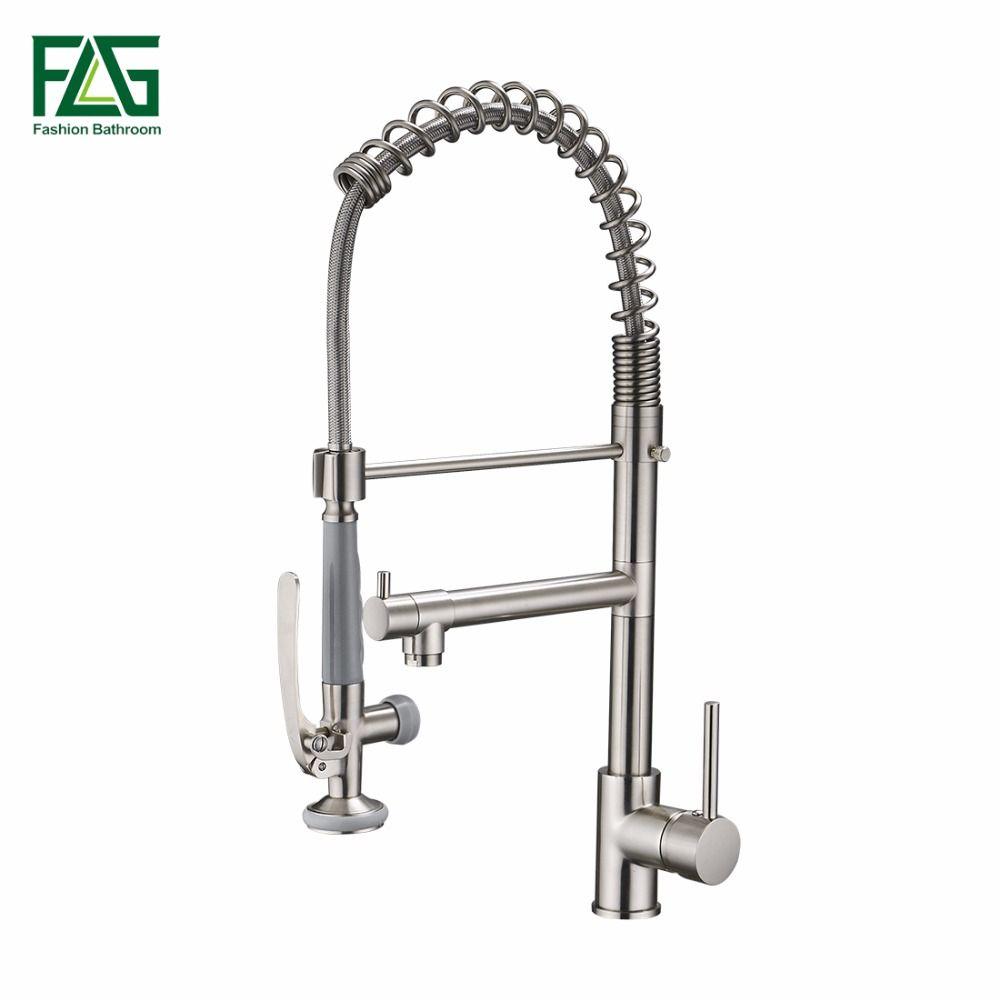 Küche Wasserhahn Nickel Gebürstet Wasserhahn 360 Grad Rotierenden Küchenarmatur Messing Einhebel Deck Montiert 2 Outlet Frühling Wasserhähne