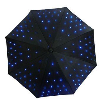 Fournir LED lumière uv parapluie avec lampe de poche fonction lumineux décoratif parapluie