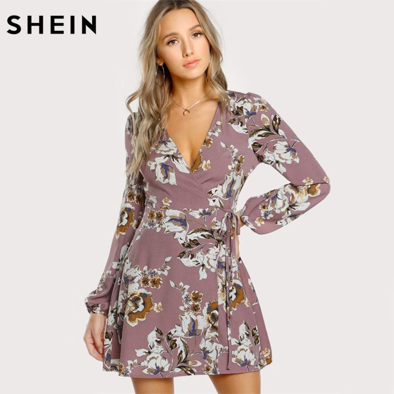SHEIN Surplice Wrap Floral Dress Multicolor A <font><b>Line</b></font> Womens Dresses 2017 Autumn Style Deep V Neck Long Sleeve Dress