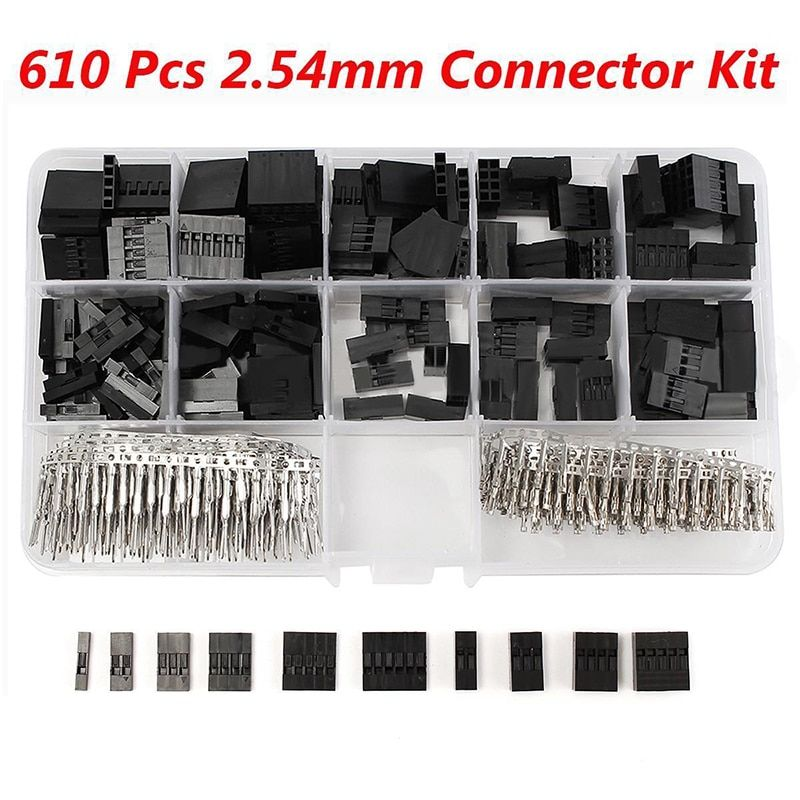 610pcs/set 2.54mm Jumper Housing Connector Header Male Female Crimp Pins Kit With Box