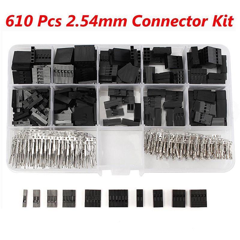 610pcs/set 2.54mm Dupont Jumper Housing Connector Header Male Female Crimp Pins Kit With Box