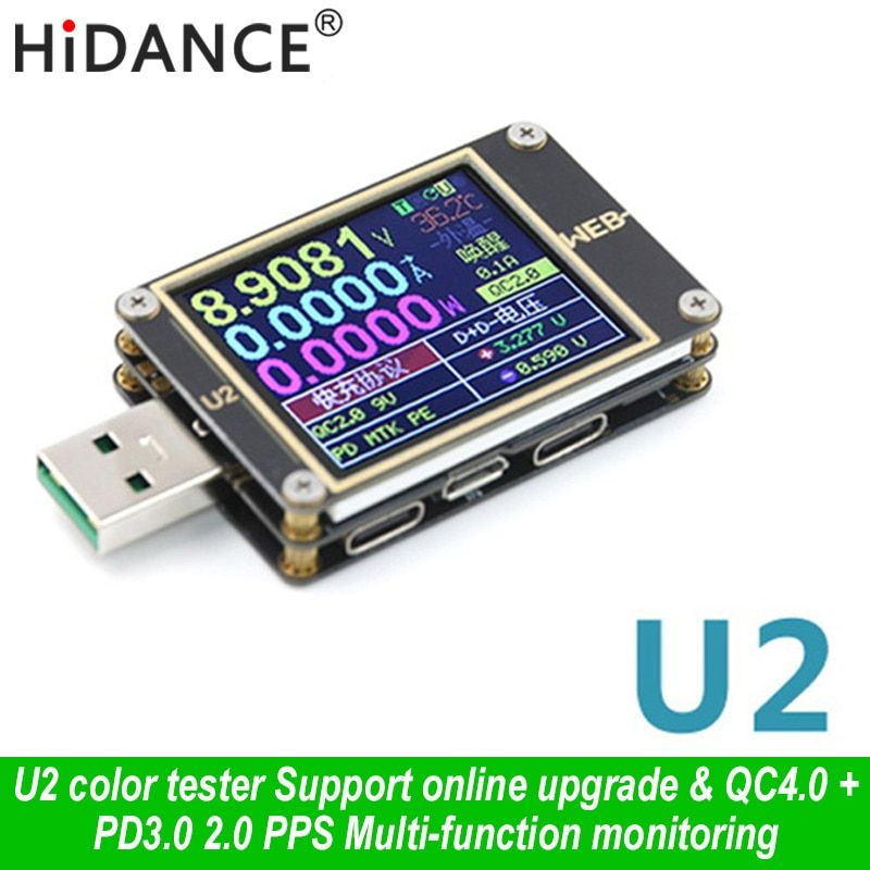 WEB-U2 USB Color Tester Current Voltmeter QC4+ PD3.0 2 PPS quick Charging Protocol Capacity DC meter 1.77 inch HD diplay