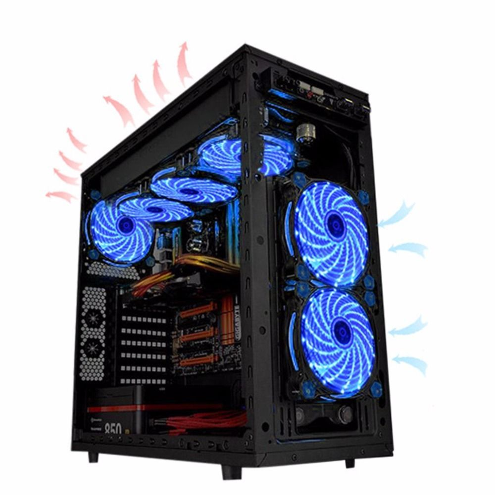 120mm pc computer fan 15 Lights LED Cooler Cooling Fan Plastic 12V DC 4P 3P 120*120*25mm Easy Installed Fan Colorful Computer