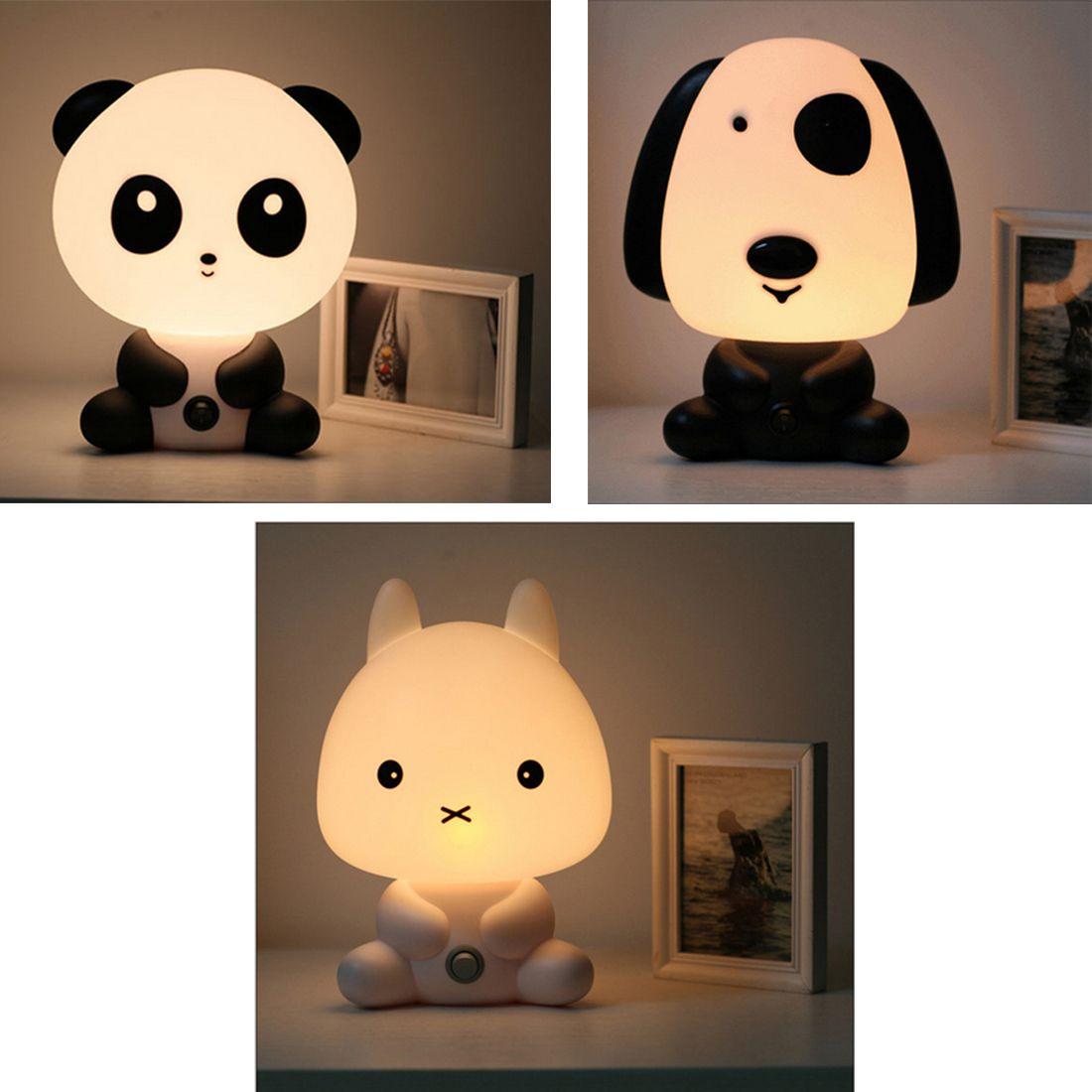 New EU Plug Baby Bedroom Lamps Night Light Cartoon Pets Rabbit Panda PVC Plastic Sleep Led Kid Lamp Bulb Nightlight for Children