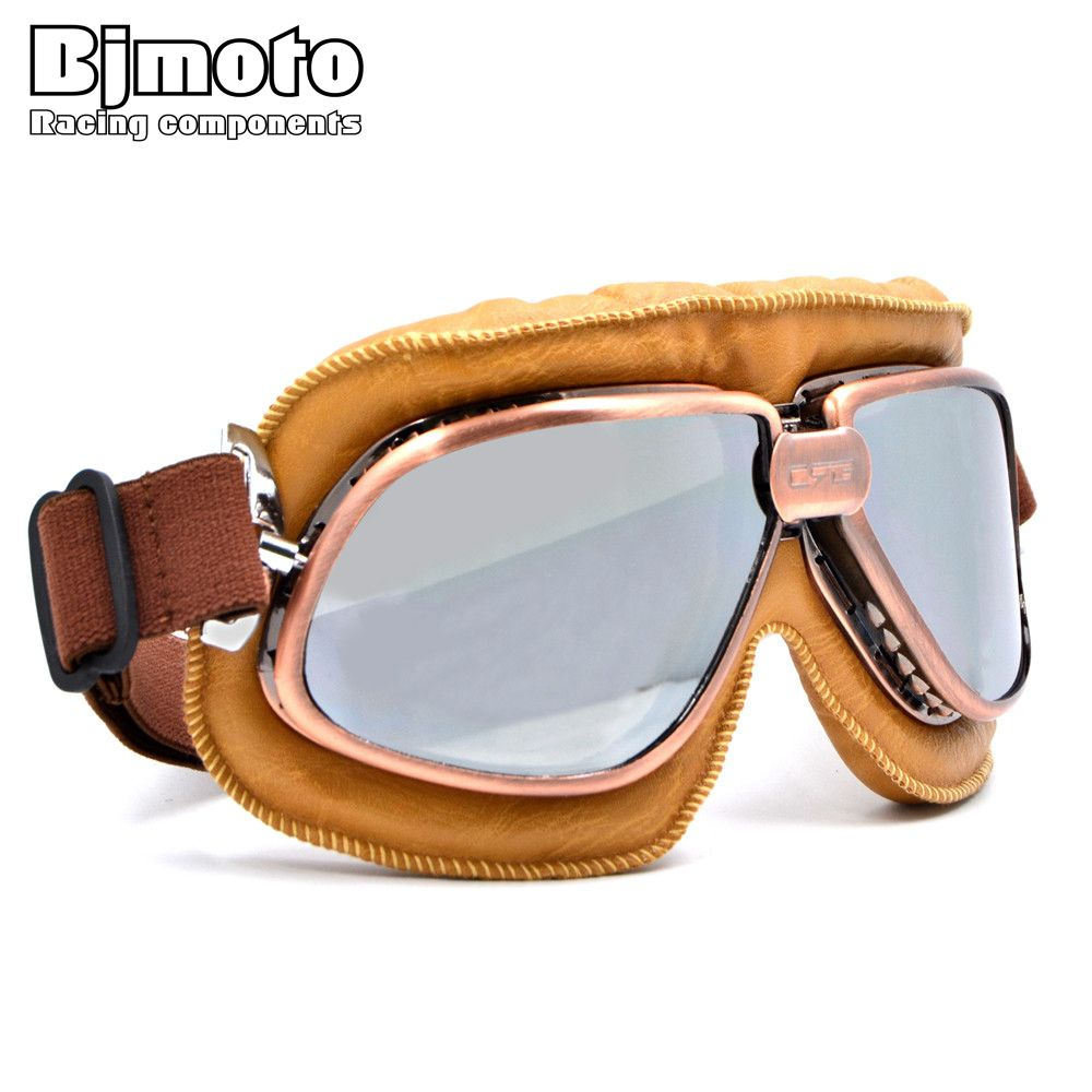 BJMOTO Vintage Harley Style Motorcycle Helmet Goggles Scooter Glasses Aviator Pilot <font><b>Cruiser</b></font> Steampunk 5 Colors