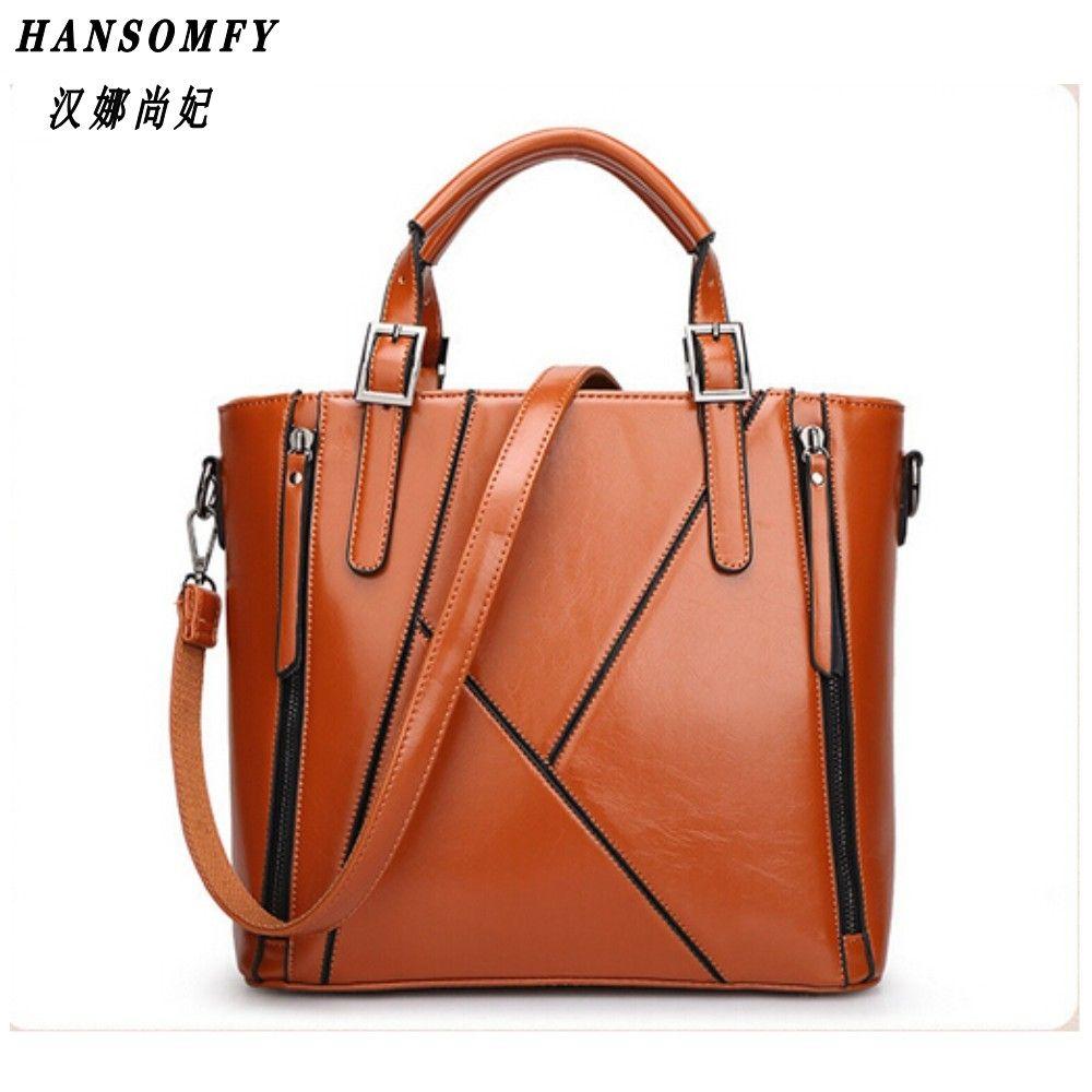 HNSF 100% Genuine leather Women handbags 2017 New Europe Handbag Shoulder Messenger Bag Design stitching fashion ladies bag