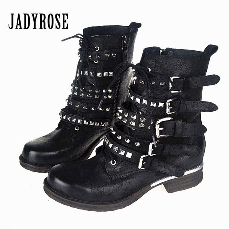 Jady Rose Retro Women Ankle Boots Rivets Studded Genuine Leather Short Botas Autumn Winter Female Straps Platform Martin Boot