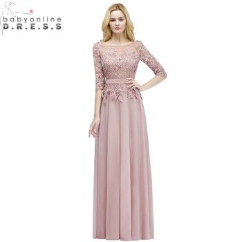 Robe de Soiree Longue Sexy Backless Pink Lace Half Sleeve Long Evening Dress  Chiffon Evening Gowns with Pearls Abendkleid