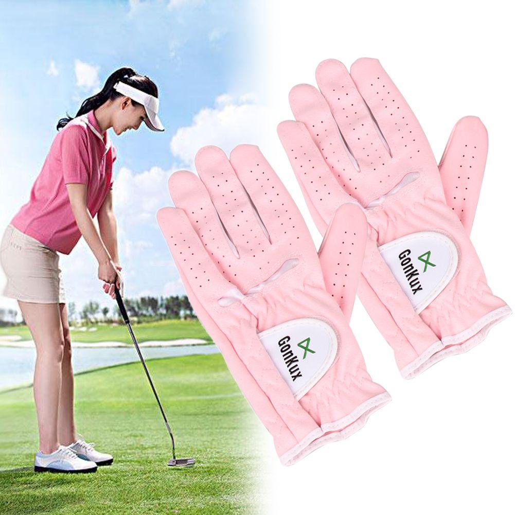 1 Para Frauen Sport Golf Handschuhe Atmungs Links und Rechts Handschuhe mit Super Feines Tuch Weiche Waschbare Außenhandschuh