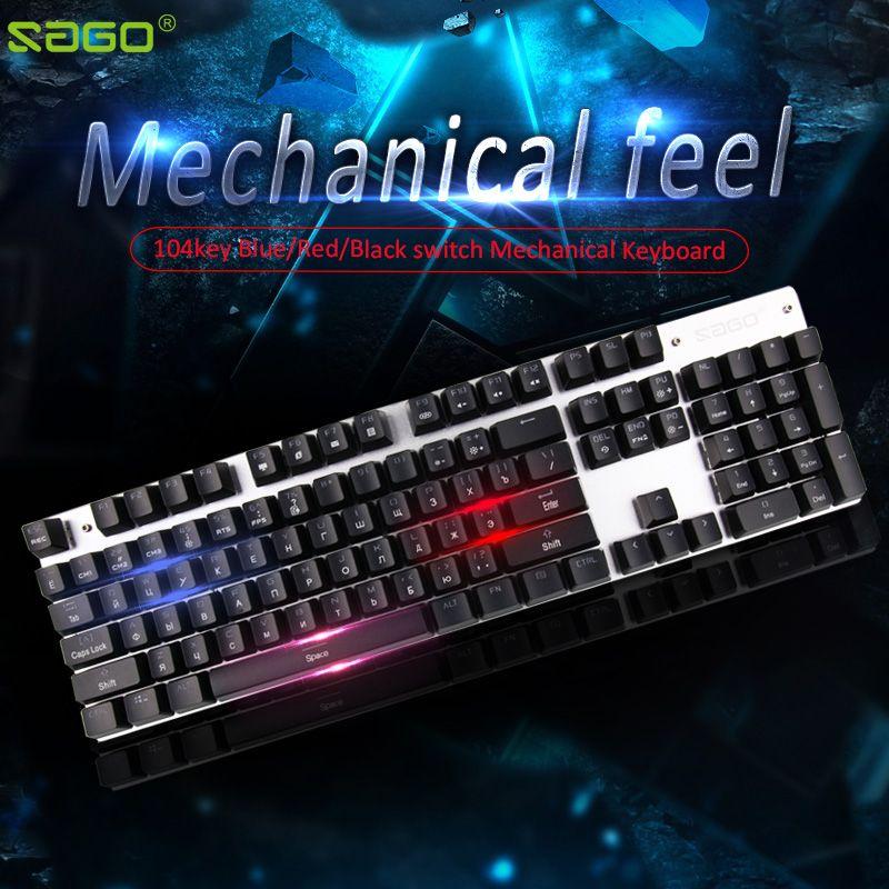 Sago Mechanical Keyboard 104 keys LED backlit Gaming Keyboard usb Wired keyboard Russian keyboard for PC laptop Large-scale game