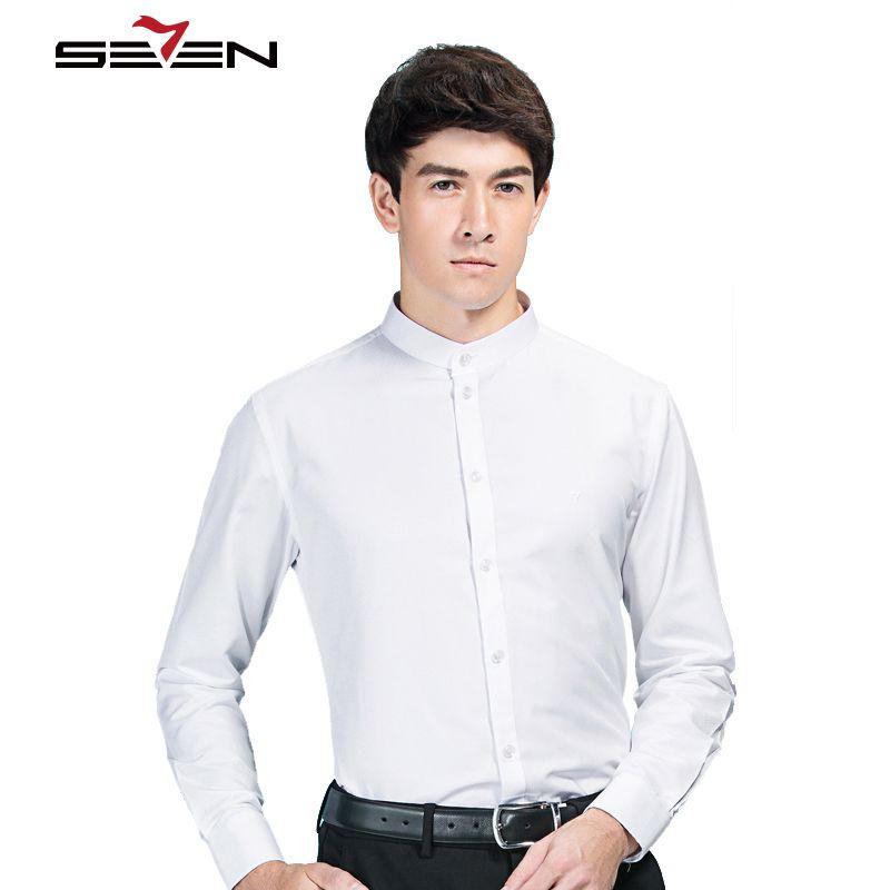 Seven7 Лидер продаж мужская одежда Рубашки мальчиков китайская узор воротник-стойка социальный Slim Fit рубашки Для мужчин Повседневное с длинны...