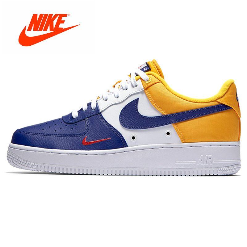 Official Original Nike AIR FORCE 1 07 LV8 AF1 Stitching Small Hook Skateboarding Men's Skateboard Shoes Sneakers 823511-404