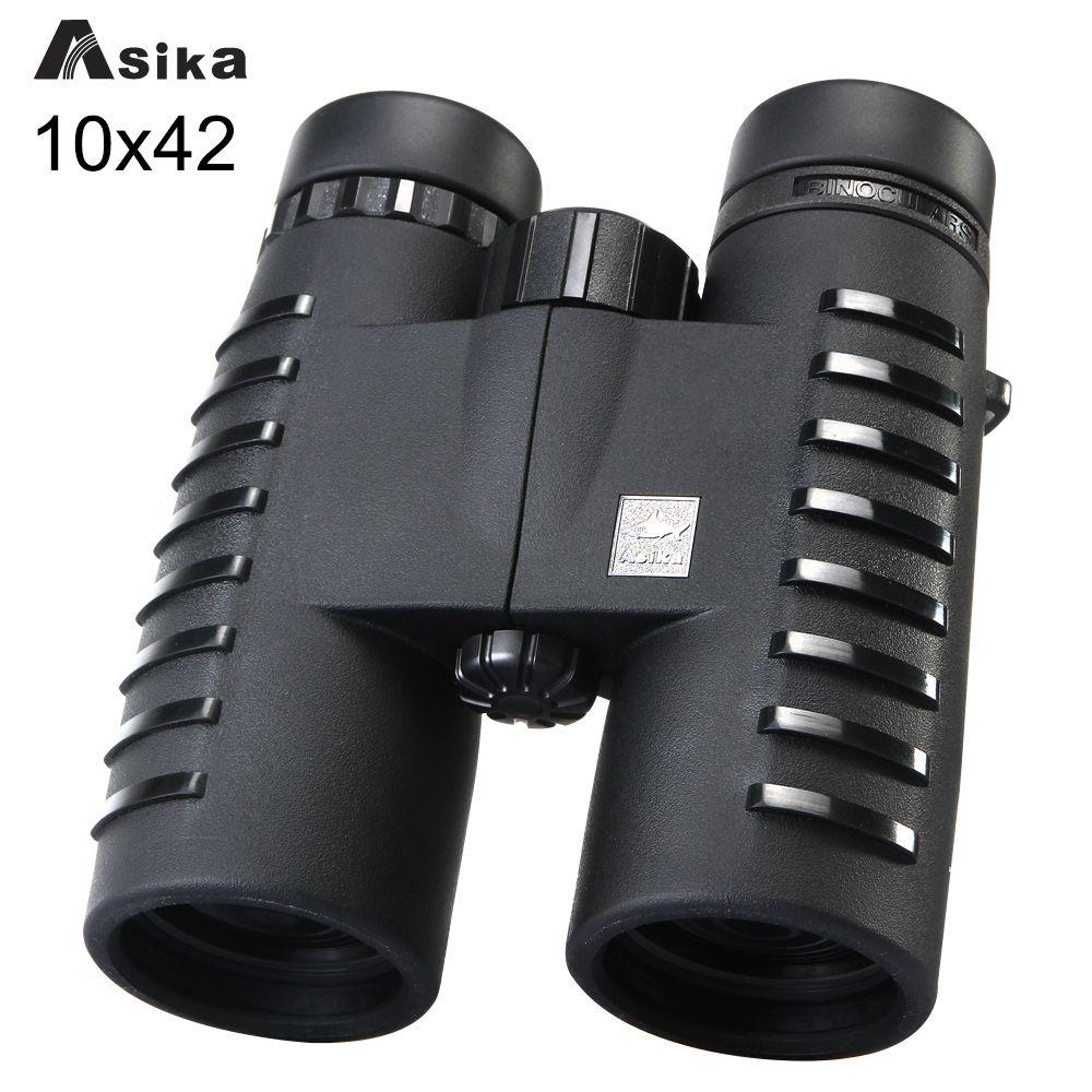 10x42 Camping Hunting Scopes Asika Binoculars with Neck Strap Carry Bag Night Vision Telescope Bak4 Prism Optics Binocular