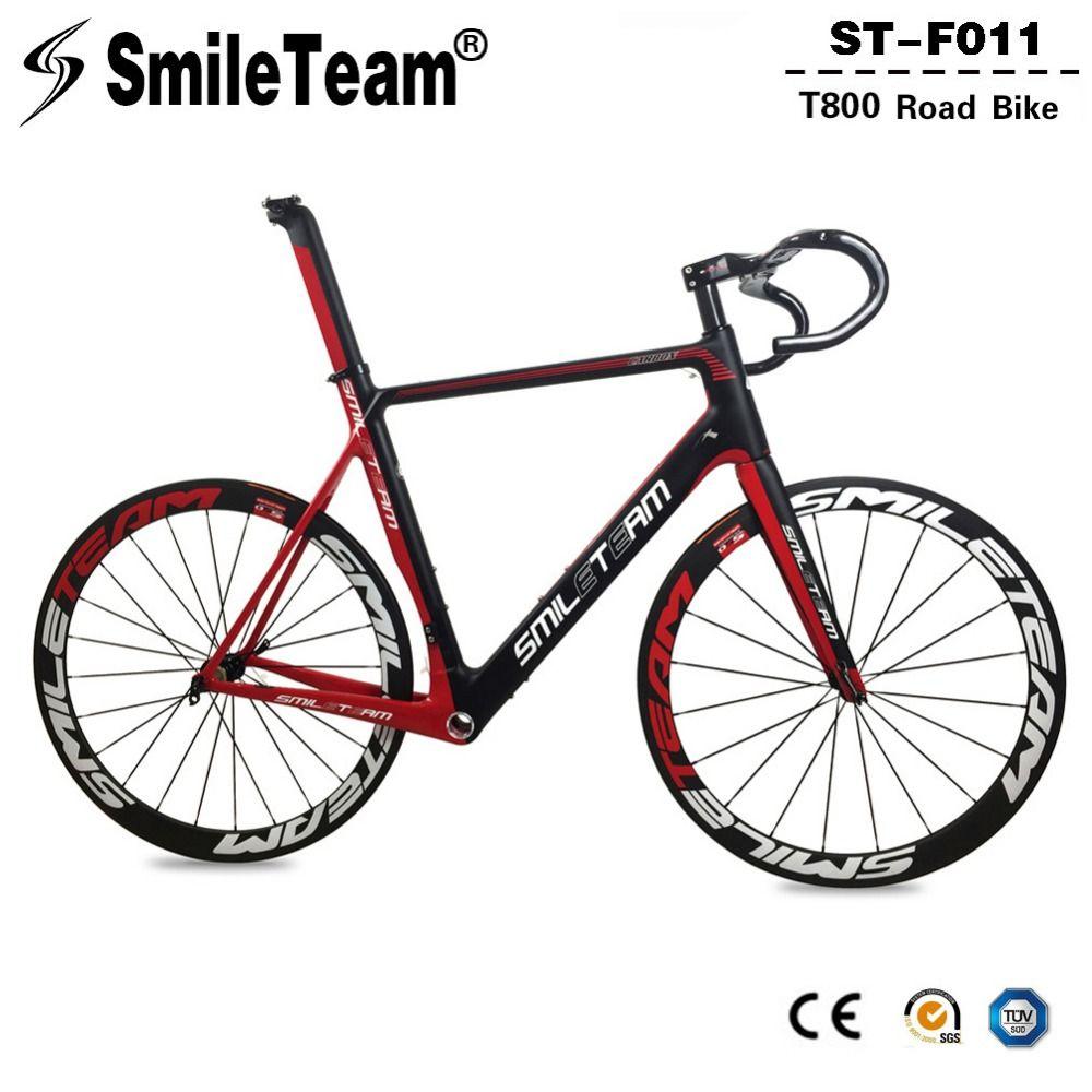 Smileteam Aero Carbon Faser Rennrad Frameset Mit Laufradsatz Lenker BSA Full Carbon Racing Fahrrad Frameset 2 Jahr Garantie