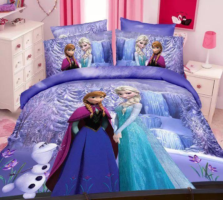 purple Frozen Elsa Anna bedding sets Girl's Children's bedroom decor single twin size bed bedspread duvet covers 3pcs no filler