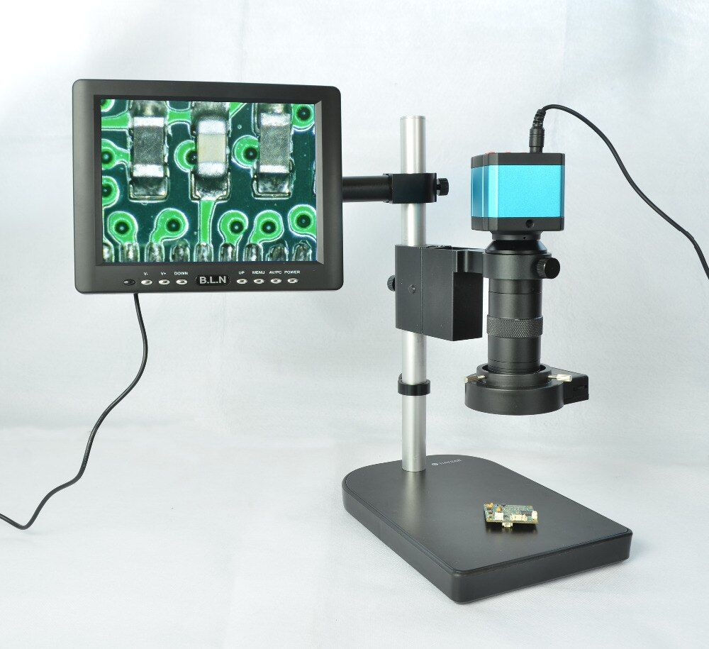14MP HDMI USB Industrial Microscope Camera Outputs + 100X C-mount Lens + 40 LED Light + 8
