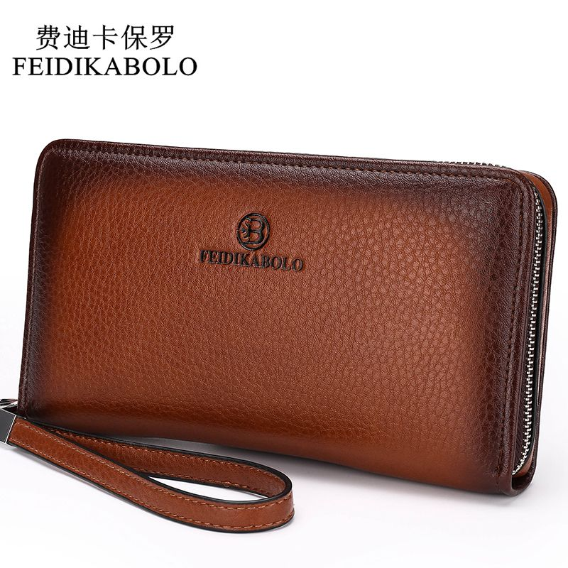 2018 Luxury <font><b>Male</b></font> Leather Purse Men's Clutch Wallets Handy Bags Business Carteras Mujer Wallets Men Black Brown Dollar Price