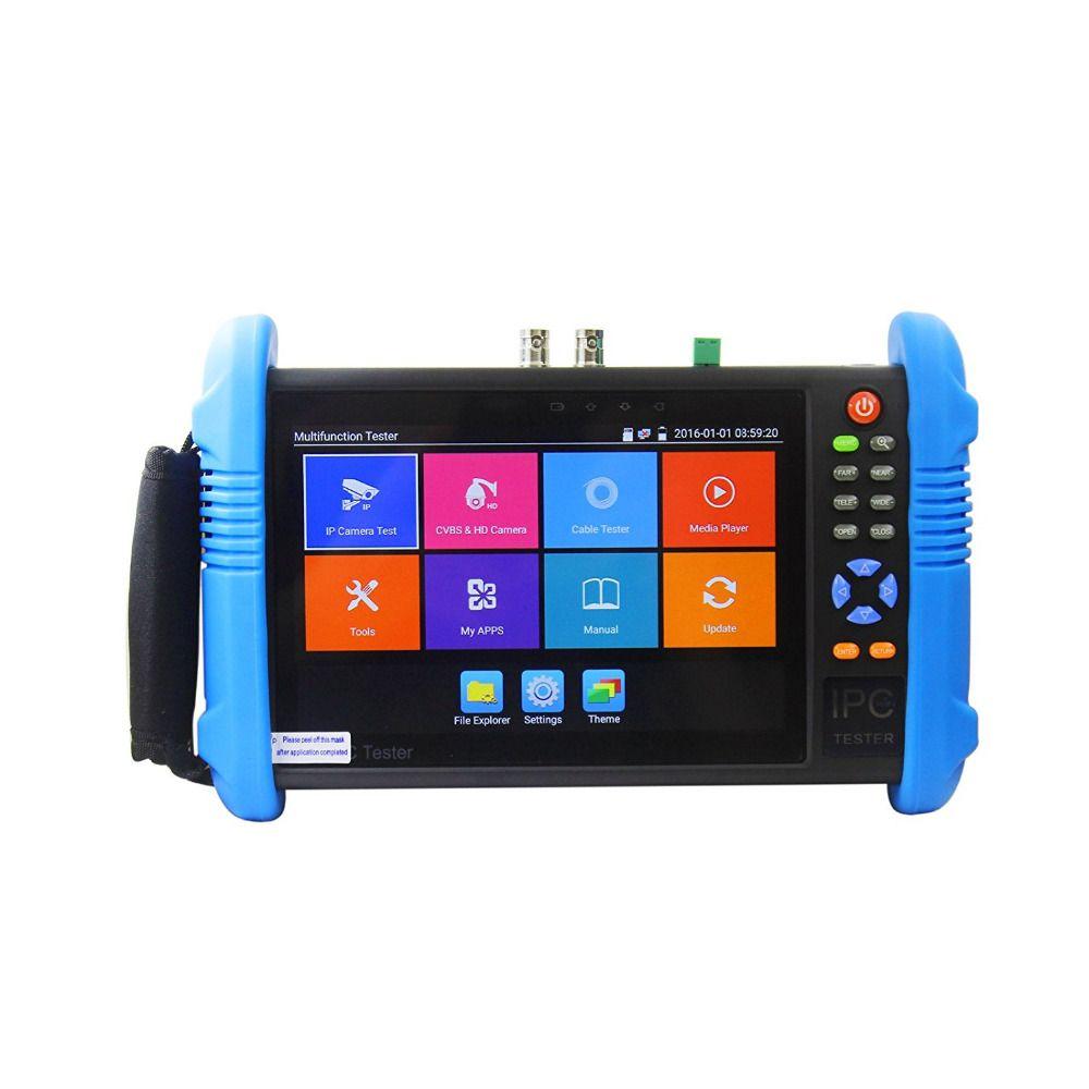 Neue 7 Zoll 5 In 1 H.265 4 Karat IP HD CCTV Tester Monitor Analog AHD TVI CVI Kamera Tester 8MP 1080 P 5MP ONVIF WIFI POE 12 V