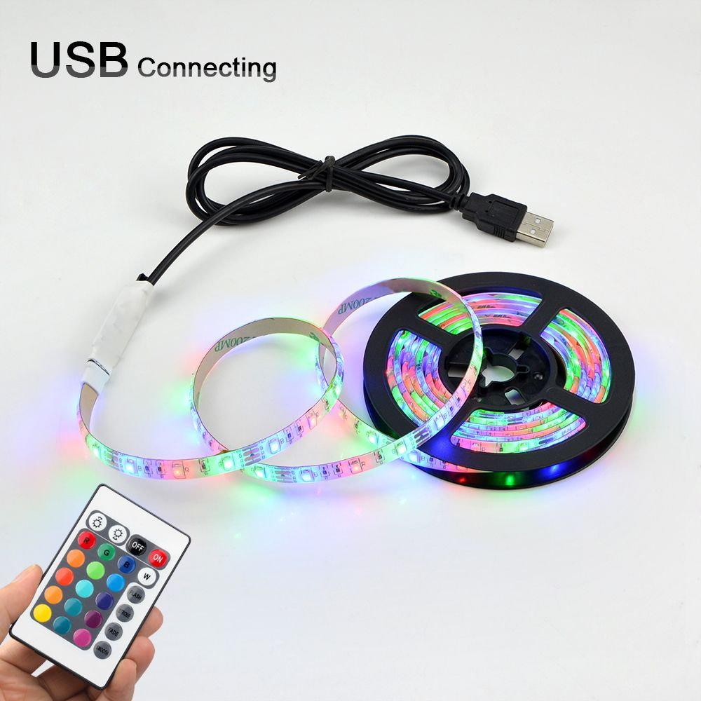 LED SMD3528 60leds/m 5V Color Changing Flexible Rope Strip 0.5m-5m for PC,TV Backlight Lights with IR controller + USB cable Kit