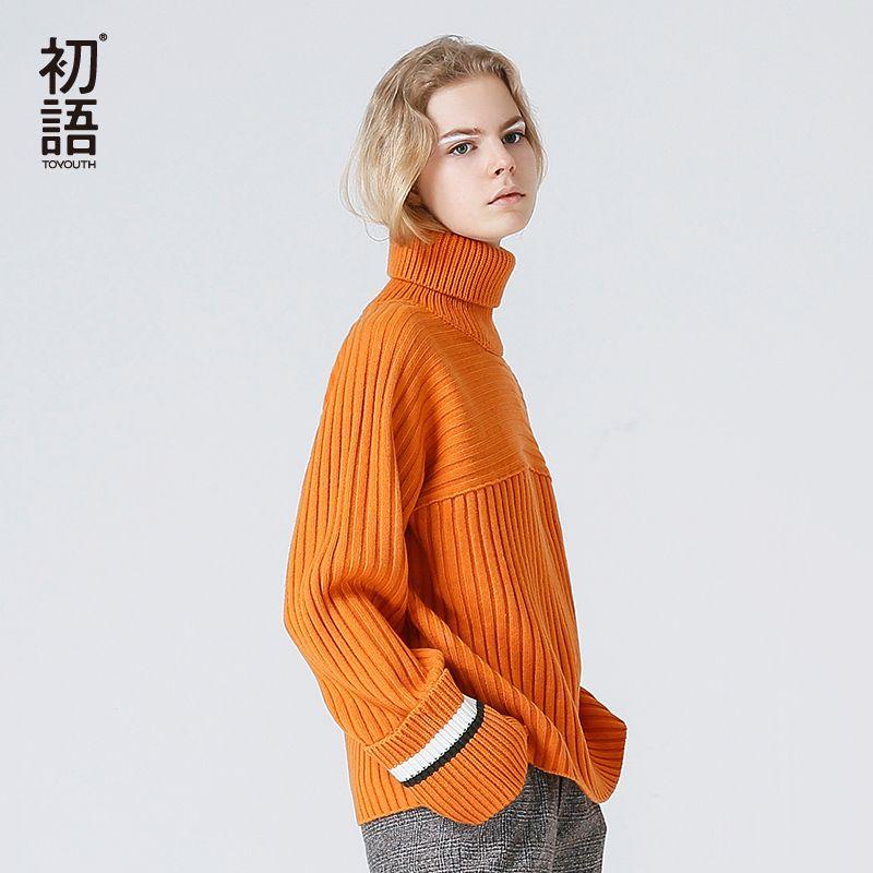 Toyouth Orange Couleur Pull À Col Roulé Femmes Tout-Allumette Tricoté Pulls Et Chandails Vintage Contraste Couleur Pull Femme Hiver