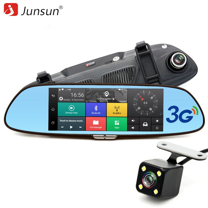 Junsun 7 inch 3G Car GPS Navigation Rearview Mirror Dual Lens Bluetooth Video Recorder Registrar FHD 1080P Gps Navigator