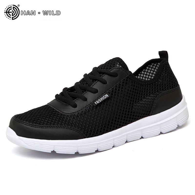 2018 hommes chaussures été baskets chaussures décontractées respirantes Couple amoureux mode à lacets hommes maille appartements chaussure grande taille