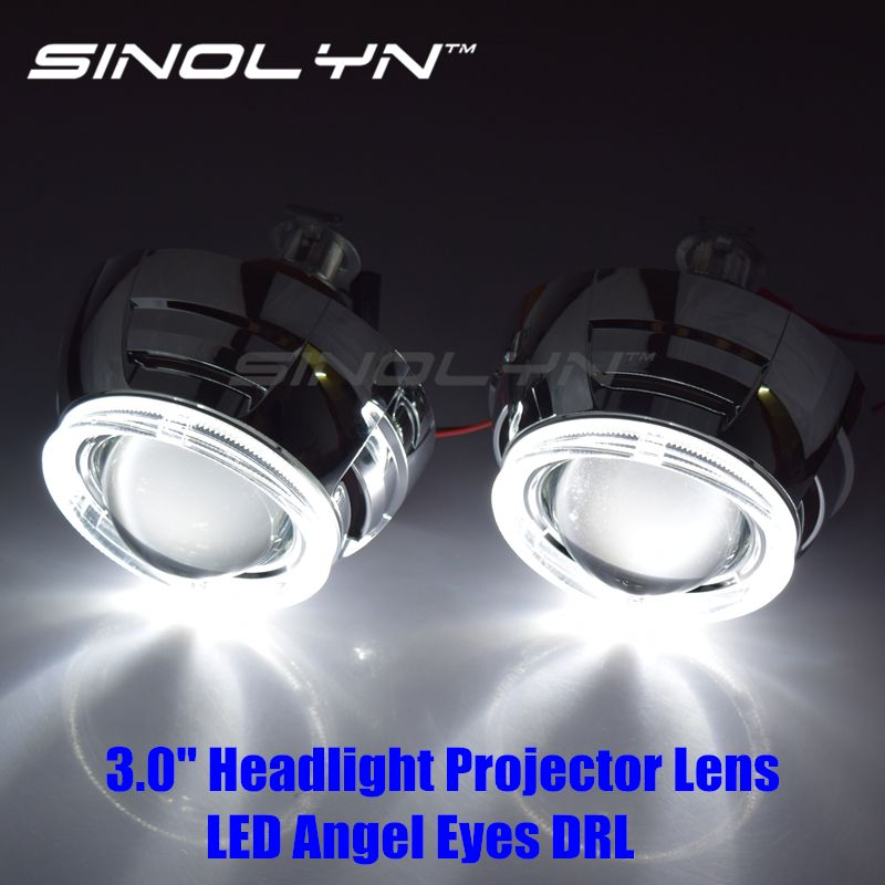 SINOLYN Retrofit Automobiles Fiber Optics LED Angel Eyes Halo DRL 3.0 inch HID Bixenon Lens Headlight Projector H1 H4 H7 Tunning