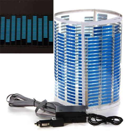 LED Lamp Light Blue Car Music Rhythm Sticker Sound Activated Equalizer 90x25cm
