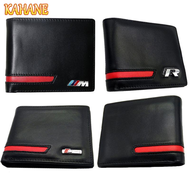 KAHANE Genuine Leather Men Wallet Car Driver License Bag For Audi A3 A4 A5 A6 BMW E46 E90 E39 F10 F30 VW T5 Passat B5 Golf 5 7