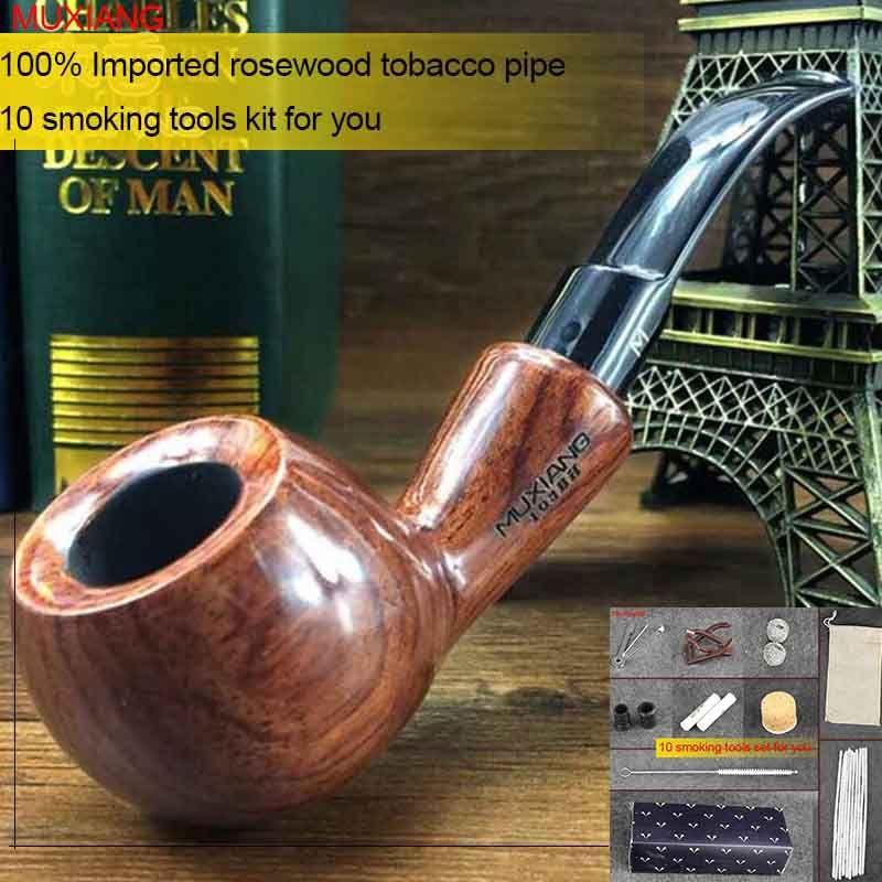 MUXIANG 10 Outils kevazingo Tabac à Pipe en bois 9mm Activer Carbone Filtre Bent Rhodesian En Bois Pipe Cadeau pour Hommes ad0017