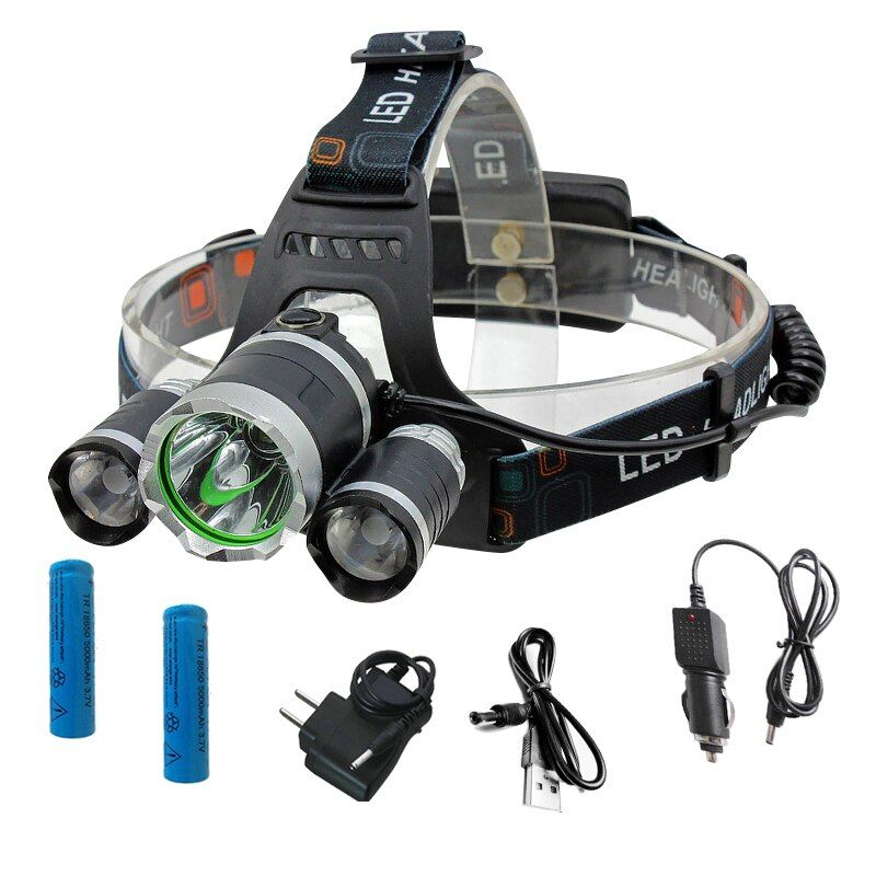 Rechargeable 12000Lm XM-L T6 Led HeadLamp Headlight torches flashlight Fishing Lamp+2*18650 battery+Car EU/US/90 charger+USB