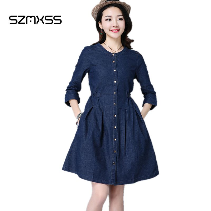 2017 Women Denim Dress Spring and Summer Pocket long Sleeve Slim Causal Loose Female Blue Jeans Dresses Plus Size Vestdos
