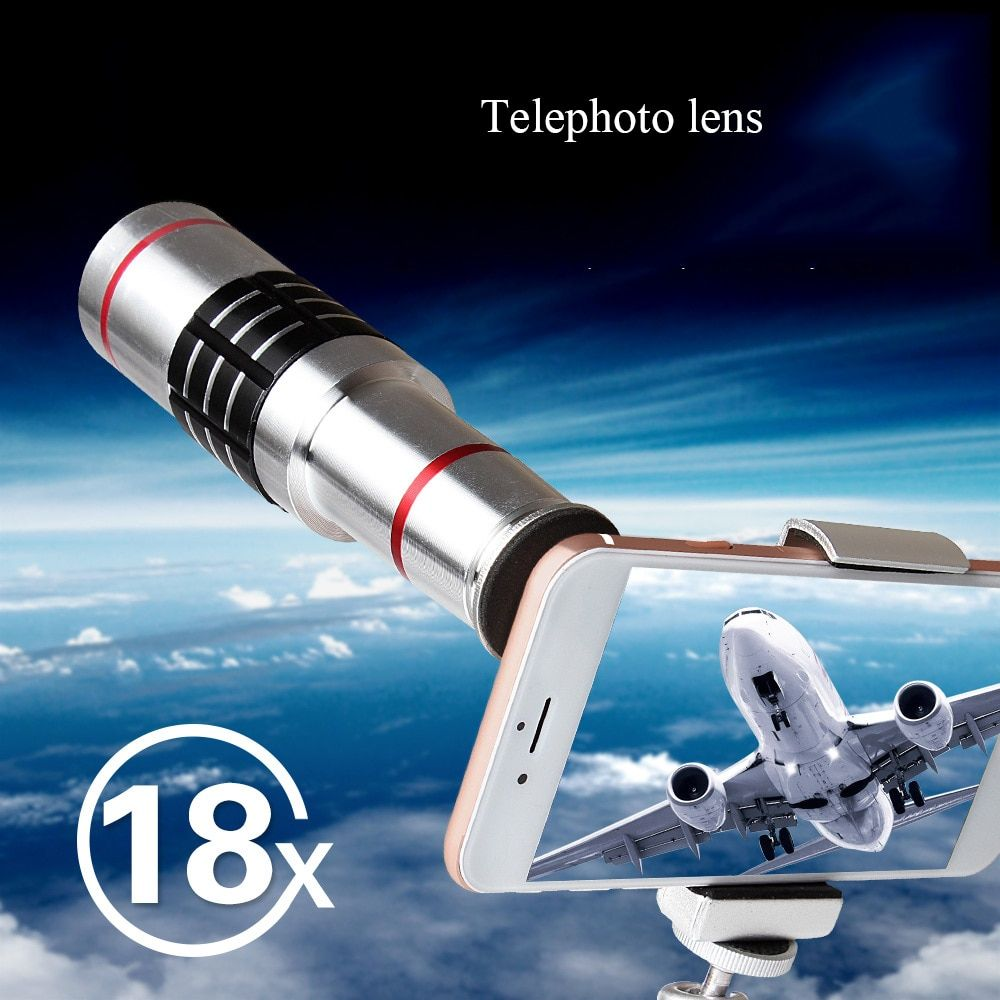 18X Telescope Zoom Mobile Phone Lens for iPhone X Samsung Smartphones universal clip Telefon Camera Lens with tripod Adjustable