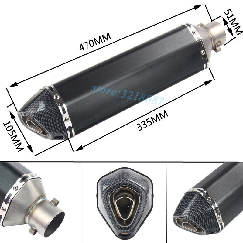 Universal 51mm Motorcycle Exhaust Pipe Escape Modified Moto Muffler DB Killer For Ninja300 FZ6N CB400 TRK502 MT-09 Dirt Bike ATV