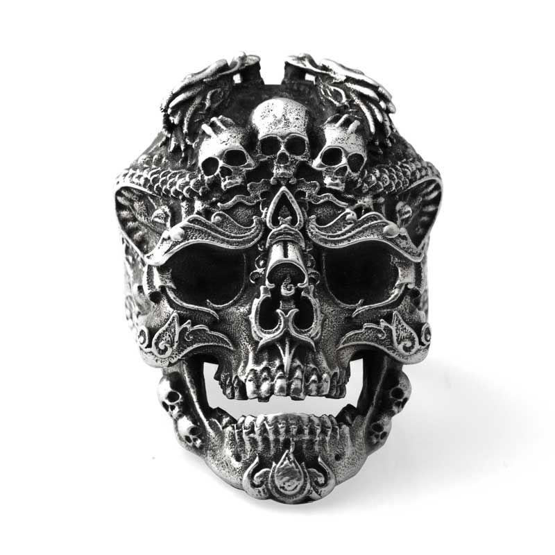 925 Sterling Argent Crâne ouvert anneaux pour homme Vintage mode bijoux cadeau pour votre petit ami