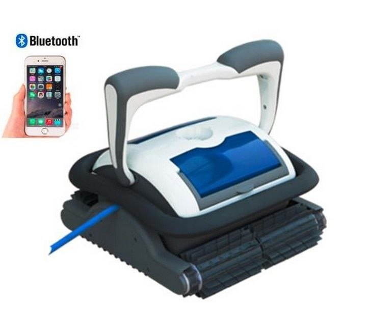 Free shipping New Coming Smartphone Bluetooth Control Automatic Robot Swimming Pool Cleaner With 18 Cable, 1pc Caddy Cart