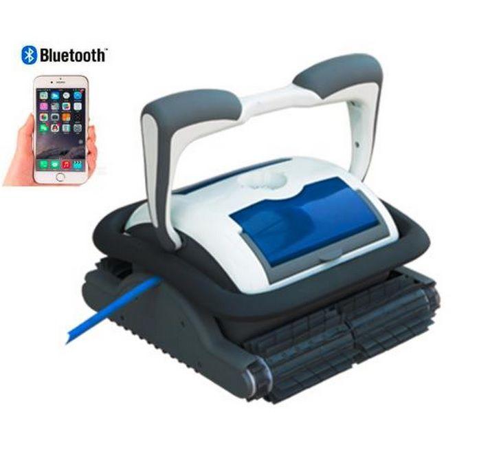 Envío gratis el Nuevo Venir Smartphone Bluetooth Control Automático Robot Limpiador de Piscina Con 18 Cables, 1 unid Caddy Cesta