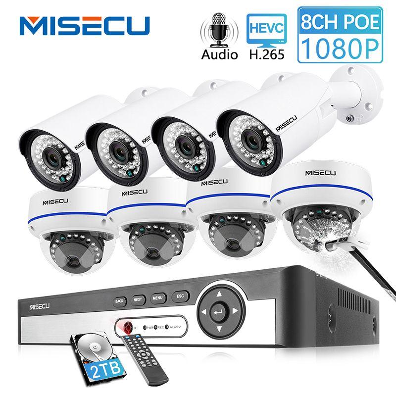 MISECU 8CH 1080 P POE NVR Kit Sicherheit CCTV System Outdoor Indoor Audio Record IP Kamera Wasserdichte P2P Video Überwachung set