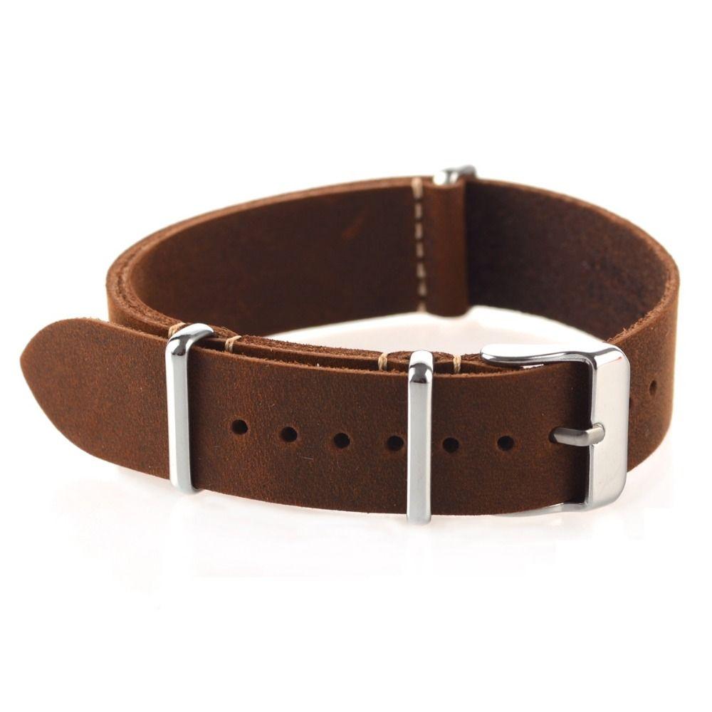 Haute qualité Vintage Crazy Horse bracelet de montre en cuir véritable otan bracelets de montre marron 18mm 20mm 22mm petit trou