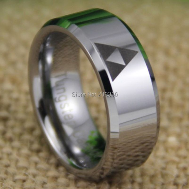 Free Shipping USA UK CANADA RUSSIA Brazil Hot Selling 8MM SUPER LEGEND Of ZELDA Triforce Silver Bevel Mens Tungsten Wedding Ring