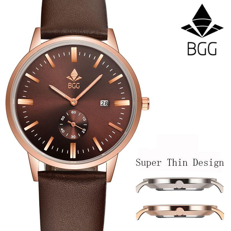 2017 Top New Super thin Casual Simple Quartz Men Watch BGG Genuine Leather male watches Calendar Waterproof Watch clock men hour