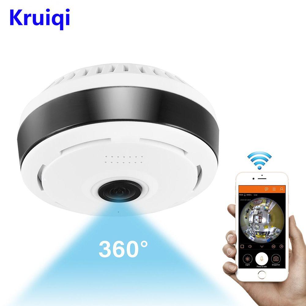 Kruiqi Mini caméra IP Wifi 1080P caméra 360 degrés IP Fisheye panoramique 2MP WIFI PTZ caméra de Surveillance vidéo sans fil caméra IP caméra