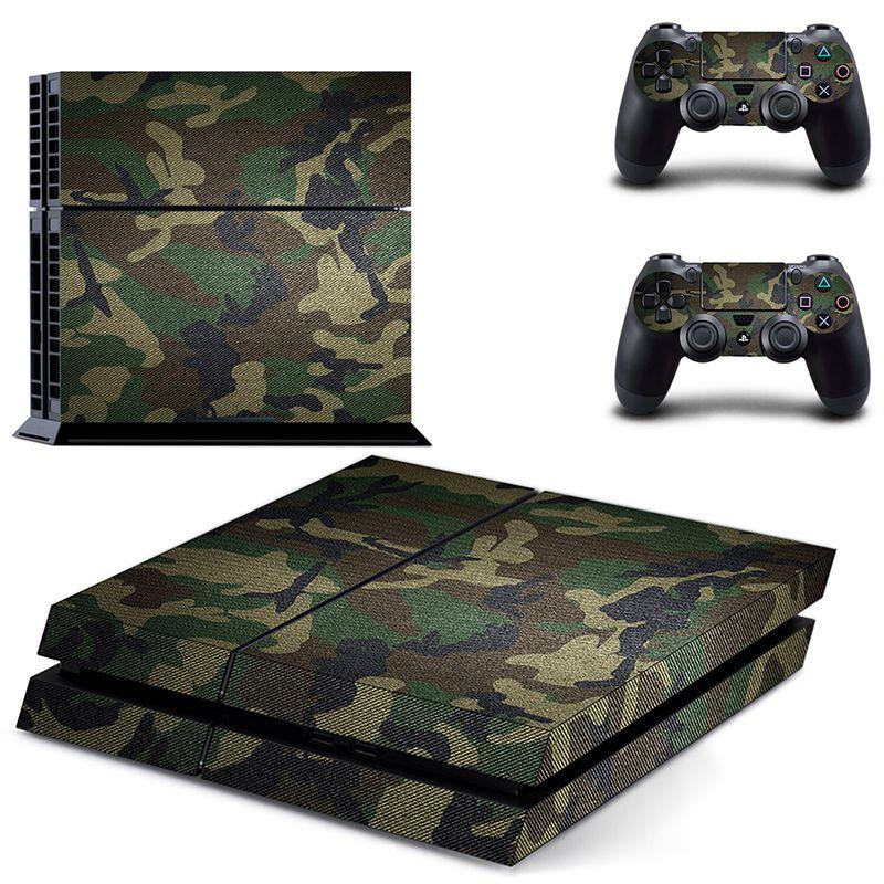 Klassische PS4 Aufkleber Grünen Camouflage Vinyl Abdeckung Aufkleber PS4 Haut aufkleber für Sony Playstation 4 Konsole und 2 Controller haut