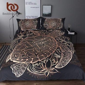 BeddingOutlet черепахи Постельное белье Duvet животного Золотая черепаха покрывало набор король размеры цветы лотоса домашний текстиль 3 шт. Роскош...