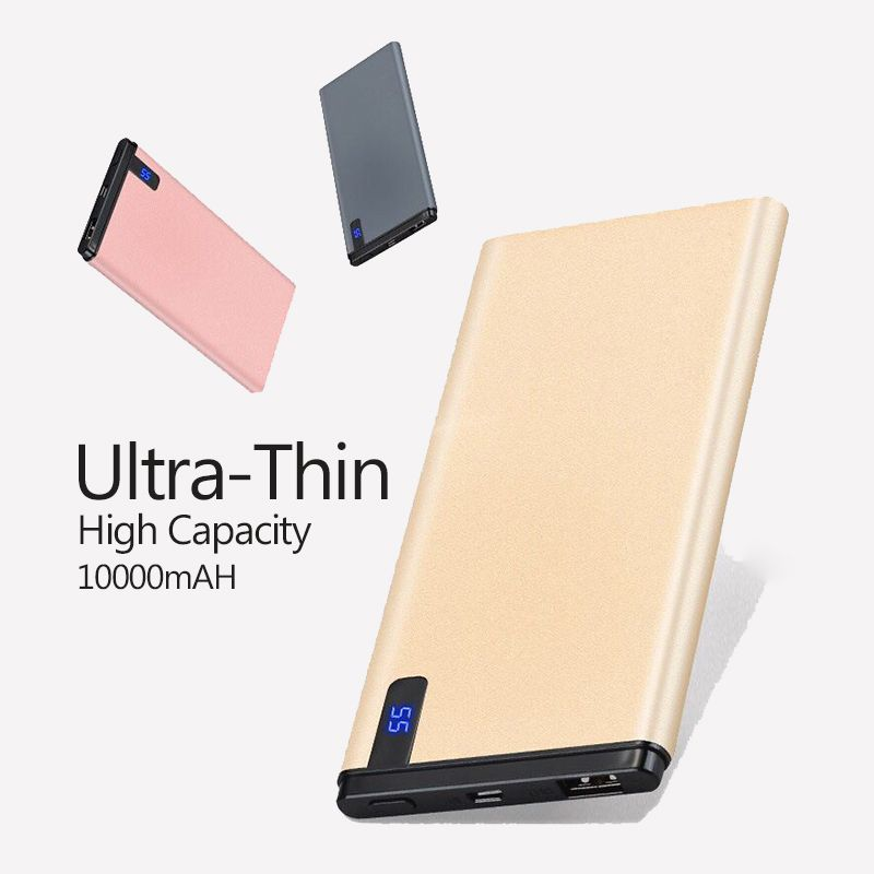 Slim 10000 mAh Power Bank,Portable Ultra-thin Polymer Powerbank battery power-bank 10000mah With LED Light for Mobile Phone