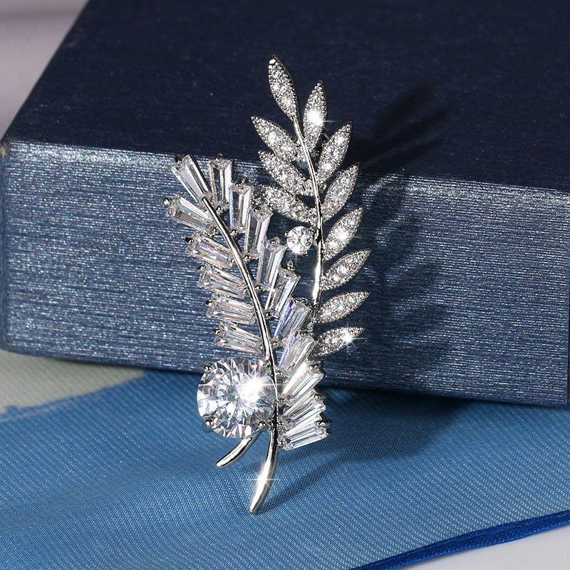 Mousseux Cuivre et Zircon Cristal Élégant Double Feuille De Mariage Nuptiale CZ Broches pour Femmes Mariée ou Demoiselle D'honneur