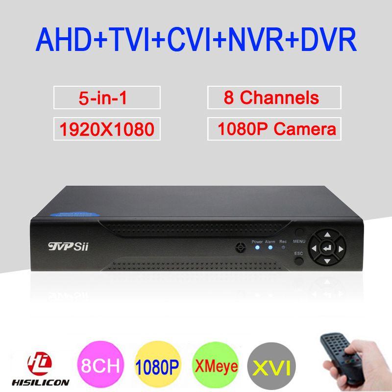 Hi3521A XMeye 8 <font><b>Channel</b></font> 8CH 1080P Full HD Surveillance Video Recorder 6 in 1 Hybrid Wifi Onvif NVR TVI CVI AHD DVR Free Shipping