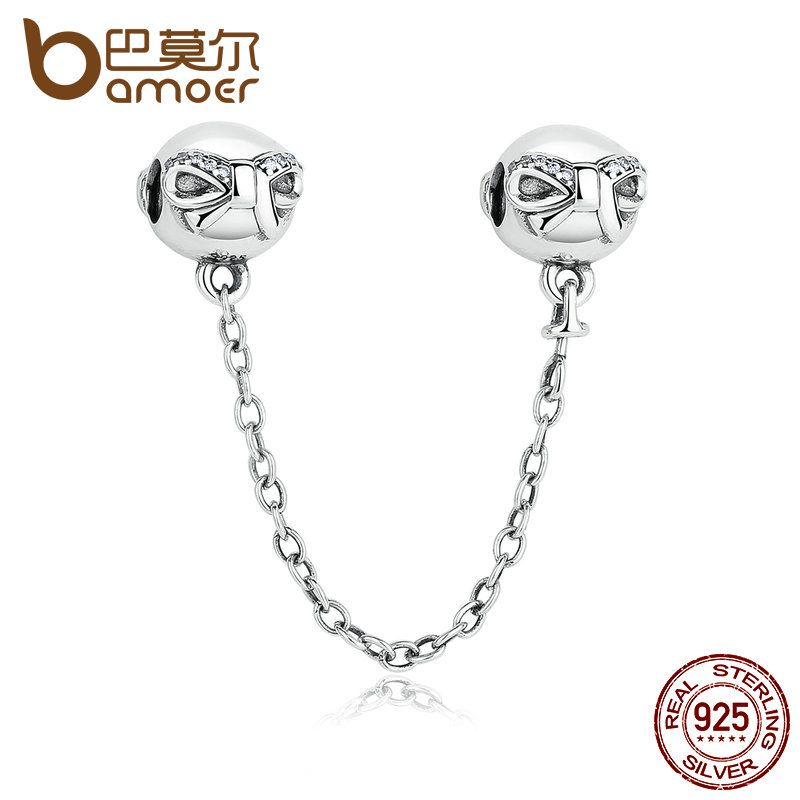 BAMOER 925 Sterling Silver Dainty Bow, Clear CZ Stopper Charms fit DIY Bracelets Safety Chain Women Jewelry PAS328