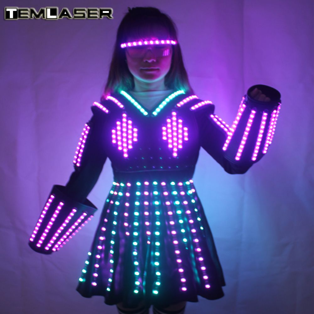 RGB Color LED Growing Robot Suit Costume Men LED Luminous Clothing Dance Wear For Night Clubs Party KTV Supplies