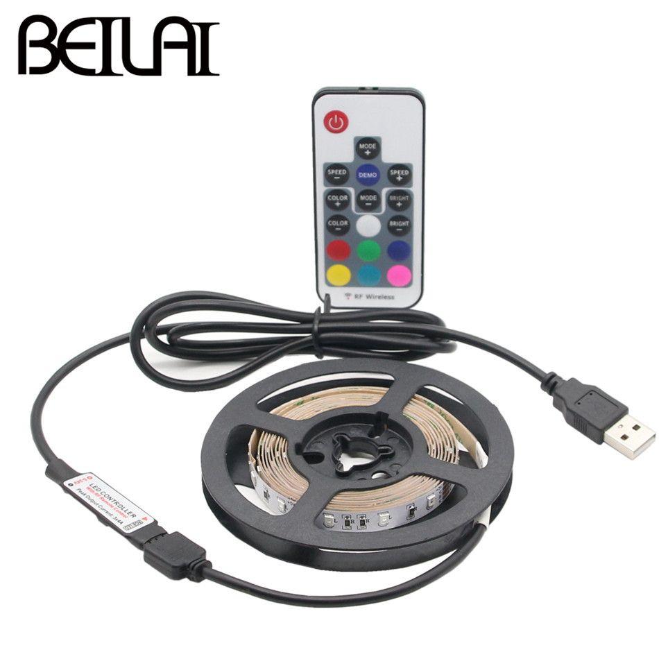 Beilai DC 5 В USB Светодиодные ленты wtareproof 2835 RGB Светодиодные полосы Flexibie 60LED/m 1 м 2 м 5 м с РФ 11key 17key для ТВ Задний план